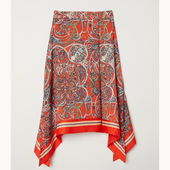 H&M Dresses & Skirts - 🌻 H&M Patterned Midi Asymmetric Skirt Bright Red